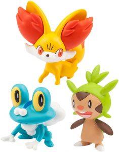 Figura de Chespin, Fennekin y Froakie de Takara Tomy - Figuras coleccionables de Chespin de Pokemon