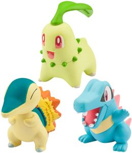 Figura de Cyndaquil, Chikorita y Totodile de Takara Tomy - Figuras coleccionables de Chikorita de Pokemon