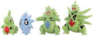 Figura de Larvitar, Pupitar, Tyranitar y Mega Tyranitar de Takara Tomy - Figuras coleccionables de Tyranitar de Pokemon