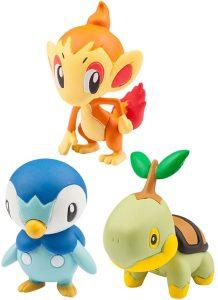 Figura de Piplup, Chimchar y Turtwig de Takara Tomy - Figuras coleccionables de Turtwig de Pokemon