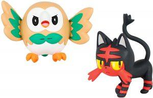 Figura de Rowlet vs Litten de Takara Tomy - Figuras coleccionables de Litten de Pokemon