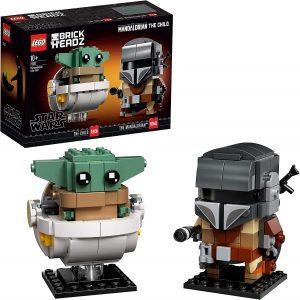 Figura de Baby Yoda y The Mandalorian BrickHeadz de LEGO Star Wars - Juguete de construcción de LEGO de Baby Yoda y The Mandalorian 75317 - Figura LEGO The Mandalorian de Star Wars