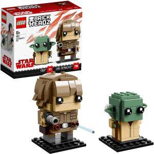 Figura de Baby Yoda y The Mandalorian BrickHeadz de LEGO Star Wars - Juguete de construcción de LEGO de Yoda y Luke Skywalker 41627 - Figura LEGO de Yoda de Star Wars