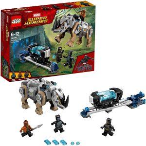 Sets de LEGO de Black Panther - Pantera Negra - Juguete de construcción de LEGO de Black Panther vs Erik Killmonger en la mina con Rinoceronte 76099