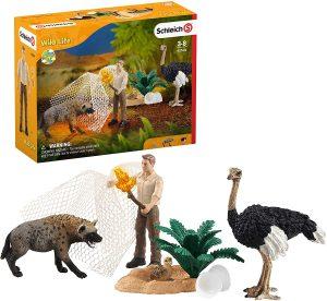 Figura de Avestruz y hiena de Schleich - Los mejores muñecos de avestruces - Figuras de Avestruz de animales