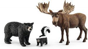 Figura de alce oso y mofeta de Schleich - Los mejores muñecos de alces - Figuras de alce de animales