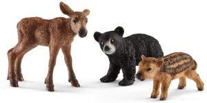 Figura de cría de alce oso y jabalí de Schleich - Los mejores muñecos de alces - Figuras de alce de animales