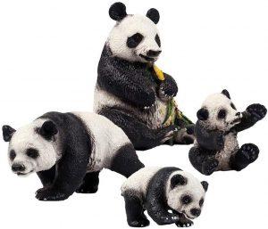 Set de figuras de Oso Panda de Flormon - Los mejores muñecos de osos panda - Figuras de oso panda de animales