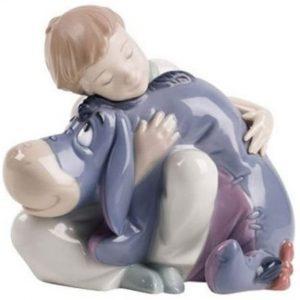 Figura de porcelana de NAO de Disney de Eeyore con niño - Las mejores figuras de porcelana de Lladró de Disney