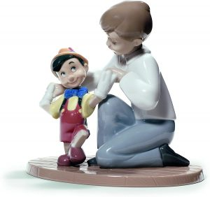 Figura de porcelana de NAO de Disney de Pinocho con niño - Las mejores figuras de porcelana de Lladró de Disney